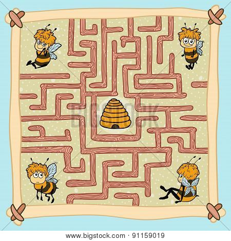 Maze Game: Help One Of The Bees Find Their Way Home