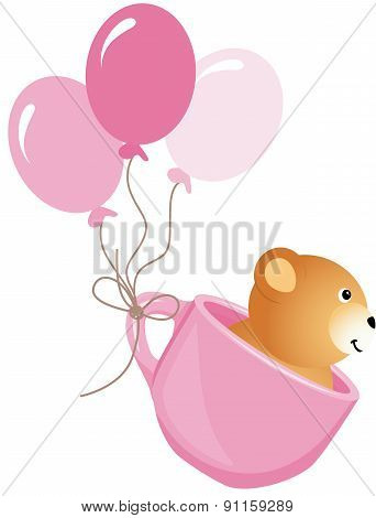 Teddy Bear Flying In Pink Cup With Balloons
