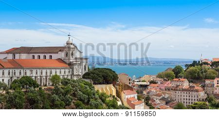 Panoramic View Of Miradouro Da Graca From Senhora Do Monte Viewpoint - Miradouro In Lisbon, Portugal