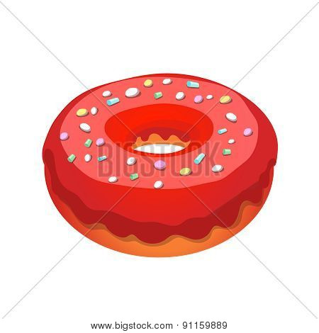 Glazed ring donut, vector