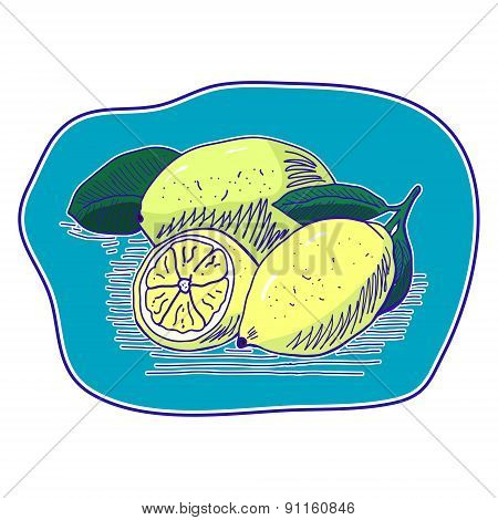lemons on blue background