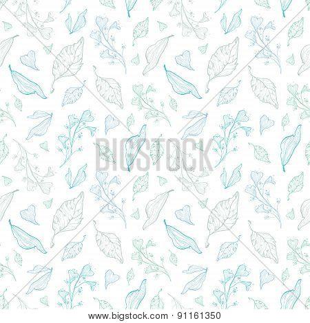 Vector pastel line art leaves seamless pattern