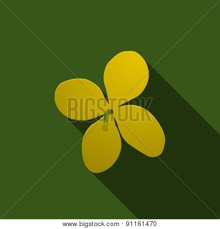 Yellow celandine on a green background