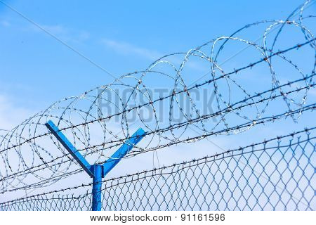barbed wires at the airport