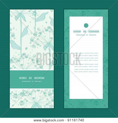 Vector summer line art dandelions vertical frame pattern invitation greeting cards set