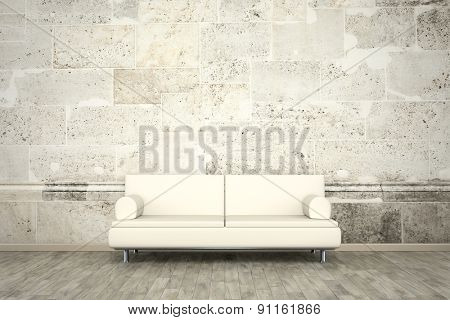 3d rendering of a sofa in front of a photo wall mural stone wall