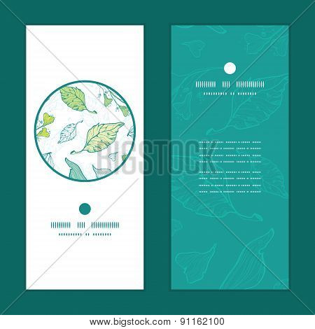 Vector lineart spring leaves vertical round frame pattern invitation greeting cards set