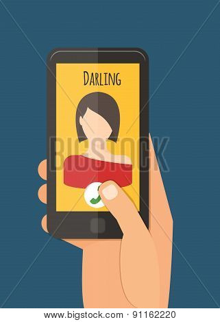 Hand holding mobile, calling girlfriend. Mobile app vector illustration