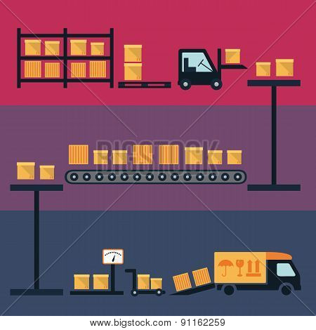Cargo and delivery, shipping process icons