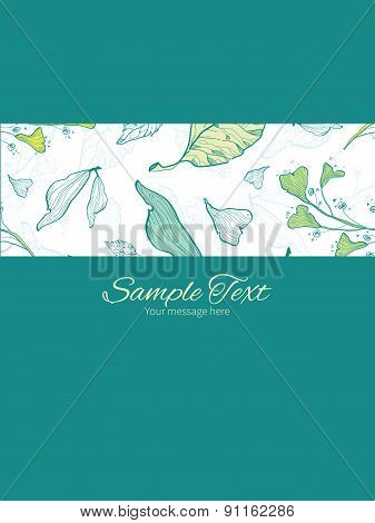 Vector lineart spring leaves stripe frame vertical card invitation template