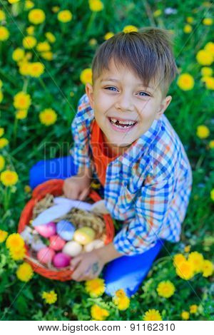 Little boy wearing bunny ears