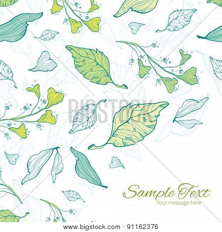 Vector lineart spring leaves frame corner pattern background