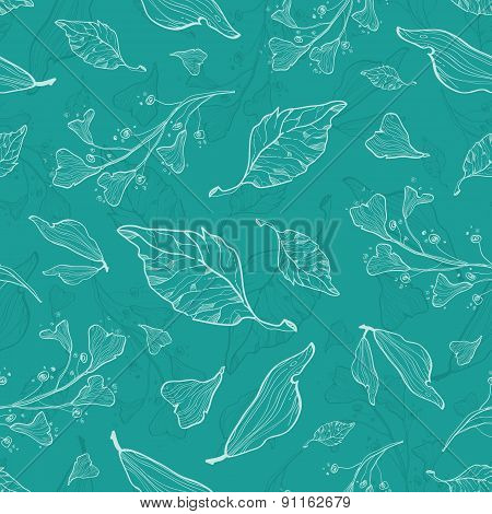Vector flying green leaves seamless pattern