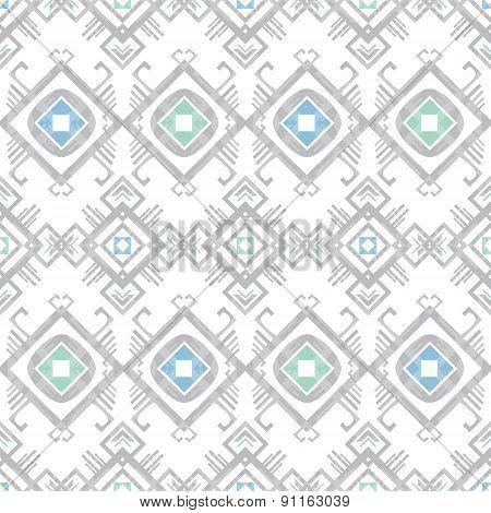 Vector grey blue tribal geometric seamless pattern
