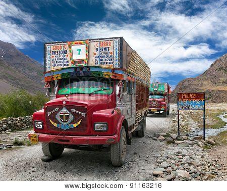 Colorful Trucks Brand Tata In Indian Himalayas