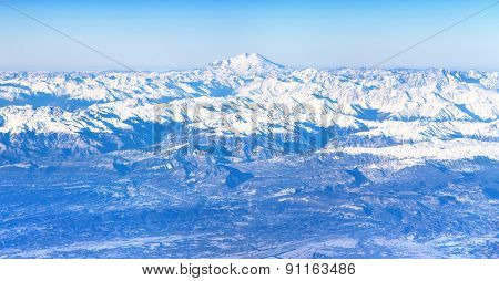 Aerial View Of Caucasus Mountains And Mount Elbrus