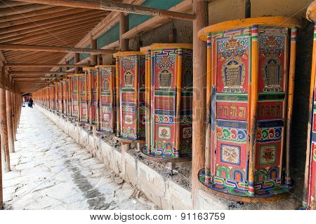 Prayer Wheel Around Labrang Monastery