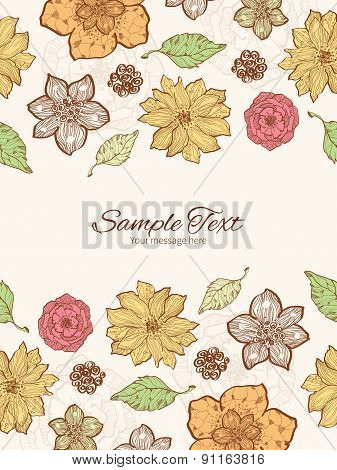 Vector warm fall lineart flowers vertical double borders frame invitation template