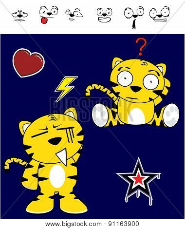 isolated tiger funny expressions cartoon set