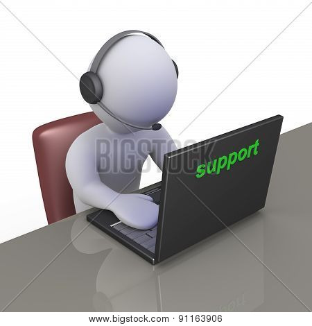 Operator At Support Call Center