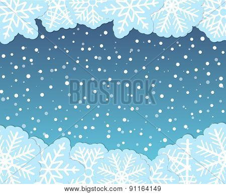 Christmas background with paper flakes. Raster version