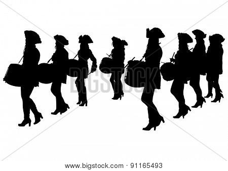 Young girls with big drums on white background