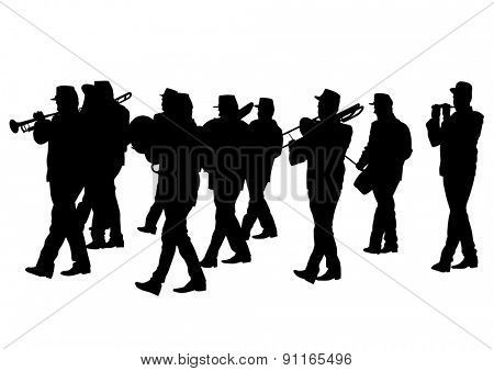 Men walking with a brass instrument