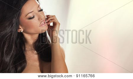 Beauty Portrait Of Romantic Girl.