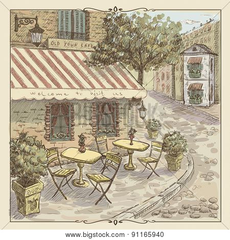 Vintage graphic with watercolor illustration of a street cafe in old town