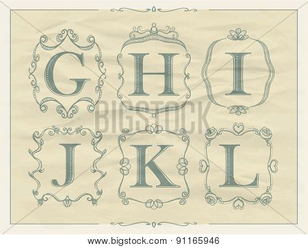Vintage calligraphic letters in monogram retro frames, alphabet logos set - G, H, I, J, K, L