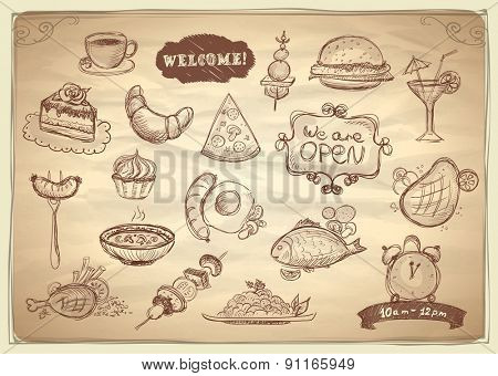 Assorted food and drinks hand drawn graphic symbols set.
