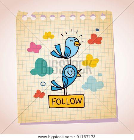 blue birds follow note paper cartoon sketch