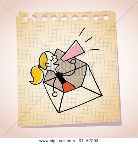 girl message loudhailer note paper cartoon sketch