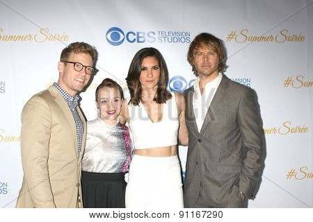 LOS ANGELES - MAY 18:  Barrett Foa, Renee Felice Smith, Daniela Ruah, Eric Christian Olsen at the CBS Summer Soiree 2015 at the London Hotel on May 18, 2015 in West Hollywood, CA