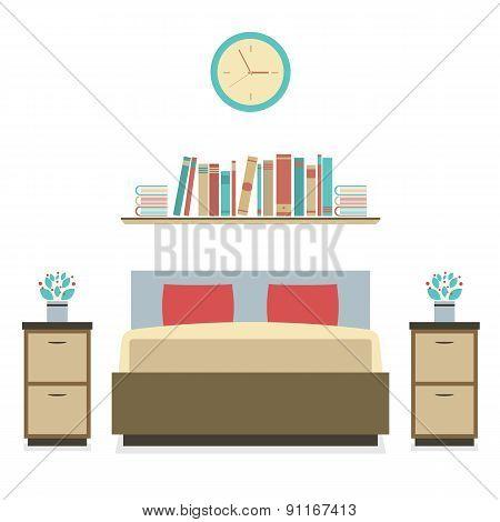 Modern Flat Design Bedroom.