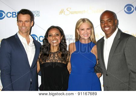 LOS ANGELES - MAY 18:  Cameron Mathison, Nischelle Turner, Nancy O'Dell, Kevin Frazier at the CBS Summer Soiree 2015 at the London Hotel on May 18, 2015 in West Hollywood, CA