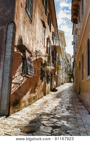 Narrow streets of Corfu island, Greece