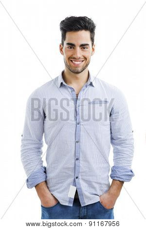 Portrait of happy handsome young man isolated on white background