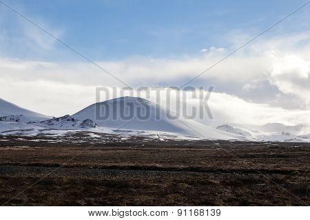 Snowy Mountain Landscape In Iceland