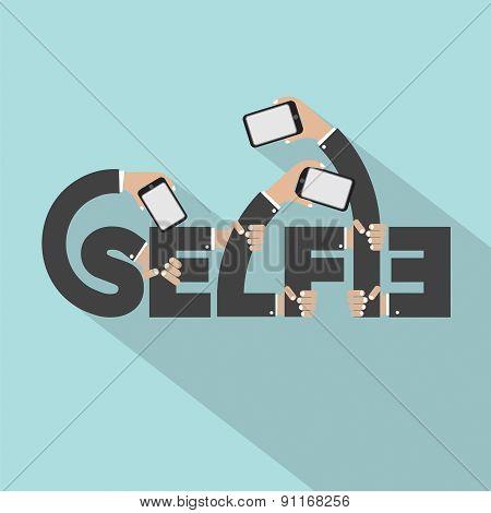 Smartphone In Hands Selfie Typography Design.