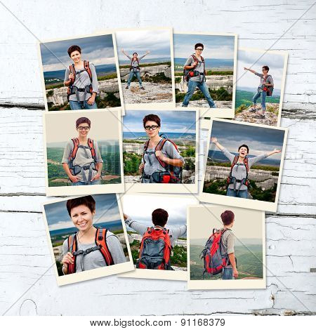 photo collage girl tourist in mountain landscape