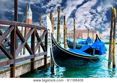 Gondola on the Grand Canal pier in Venice