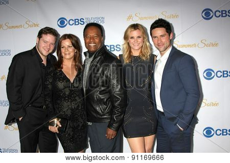 LOS ANGELES - MAY 18:  Harry Ford, Marcia Gay Harden, William Allen Young, Bonnie Sommerville, Ben Hollingsworth at the CBS Summer Soiree 2015 at the London Hotel on May 18, 2015 in West Hollywood, CA