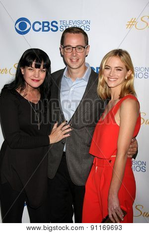 LOS ANGELES - MAY 18:  Pauley Perrette, Sean Murray, Emily Wickersham at the CBS Summer Soiree 2015 at the London Hotel on May 18, 2015 in West Hollywood, CA