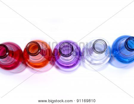 Colorful Glass Bottles Background