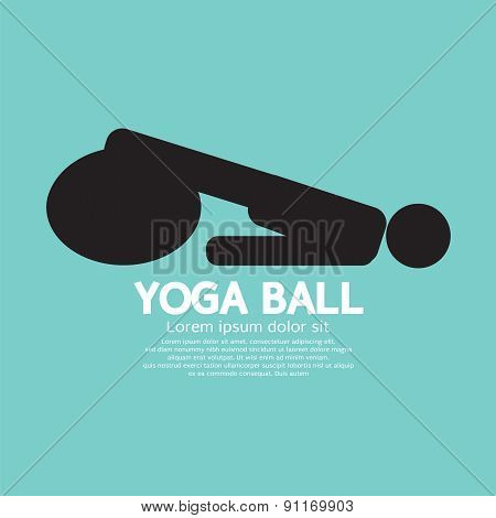 Black Symbol Of A Person Playing On Yoga Ball.