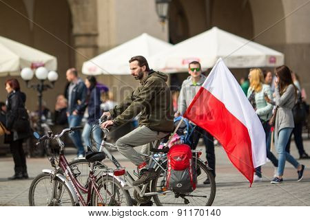 KRAKOW, POLAND - MAY 2, 2015: National Flag Day of the Republic of Poland (by the Act of 20 Feb 2004) celebrated between the holidays: May 1st (Labour Day) and May 3rd - Feast of Polish Constitution.