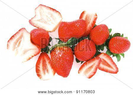 ripe raw strawberry isolated over white background