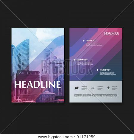 Flyer or Cover Design Set for Your Business - Colorful Striped and Skyscrapers Pattern