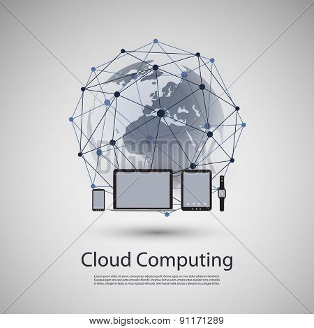 Cloud Computing or Global Network Concept Design with Different Devices